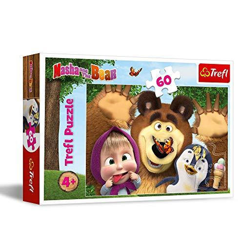 Trefl Wesoły dzień Maszy Puzzle 60 Elementów Masza i Niedźwiedź o Wysokiej Jakości Nadruku dla Dzieci od 4 lat