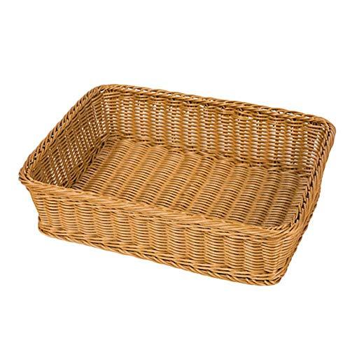 Fablcrew. Cesta de almacenamiento trenzada rectangular para pan de plástico, cesta para pan de mimbre, cestas de comida para frutas, verduras, pan, cookies, Candy, caqui, 45*35*8CM