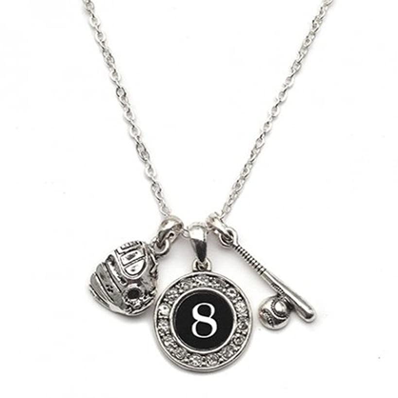 MadSportsStuff Custom Player Jersey ID Baseball/Softball Necklace (Available in 39 Numbers)