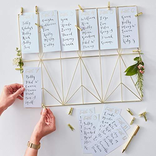 Ginger Ray- Plan Kit Wedding Decoration Tableau d'affichage, Gold Wire Frame Table, doré
