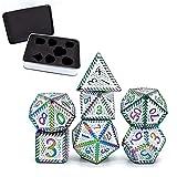 Juego de 7 dados de juego poliédrico, dados de metal DND D & D con caja de almacenamiento para juego de rol, enseñanza de matemáticas, juegos de mesa