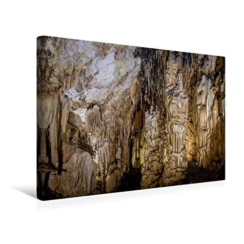 CALVENDO Premium Textil-Leinwand 45 cm x 30 cm quer, Coves d\'Artà bei Canyamel im Osten von Mallorca | Wandbild, Bild auf Keilrahmen, Fertigbild auf echter Tropfsteinhöhle Orte Orte