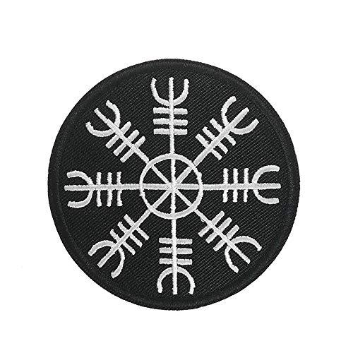 ichipachi 北欧 魔除け Aegishjalmr 刺繍 ワッペン バイク 面白いパッチ 趣味用パッチ