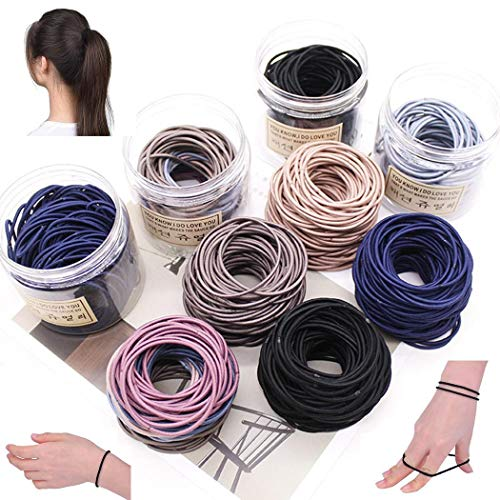 Duneen 100pcs Elastic Hair Bands Rubber Hair Ties for Thick Heavy and Curly Hair,No Metal Ponytail H