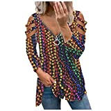 Camiseta de manga larga para mujer, sexy, cuello en V, cremallera, color arrugado, informal, blusa para mujer, camiseta elegante, K721, multicolor, S
