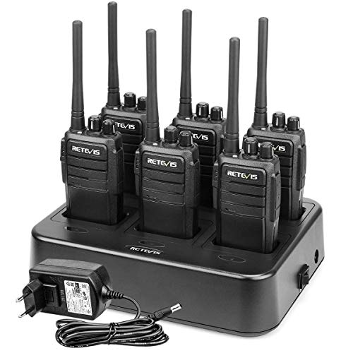 Retevis RT21 Walkie Talkie Profesional 16 Canales CTCSS/DCS Alarma De Emergencia Cargador De 6 Vías Walkies Recargable (Negro, 6 Packs)