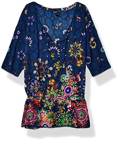 Desigual Damen Bluse Top Swimwear Melina,Blau (Navy 5000), Gr. S DE (Herstellergröße: Medium)