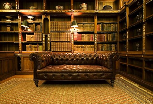 Leyiyi 8x6ft Photography Background Vintage Study Backdrop Royal Luxry Shelf Frame Office 3D Carpet Leather Sofa Retro Castle Hardcover Books Antique Curio Lantern Photo Portrait Vinyl Studio Prop