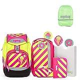 Ergobag Pack Set Schulrucksack Strahlebär, Regenhülle grün