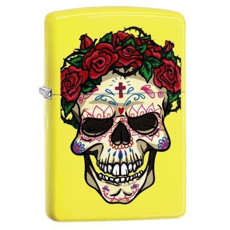 Zippo Sugar Skull with Roses Neon Yellow Matte Lighter