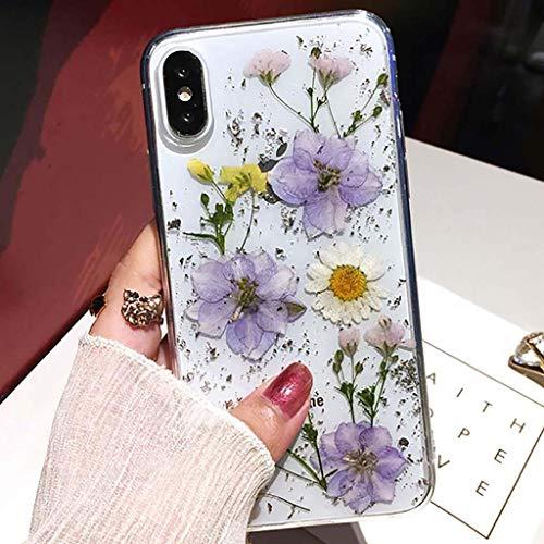 Bakicey Coque de protection fine en gel pour iPhone 11 Pro - Motif fleurs séchées - Fabriquée à la main - Violet/blanc
