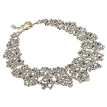 Jerollin White Crystal Rhinestone Statement Chain Necklace Christmas Gift Vintage Choker Bib Pendant Necklace Bohemian Bling Tassel Collar Statement Necklace for Evening Party