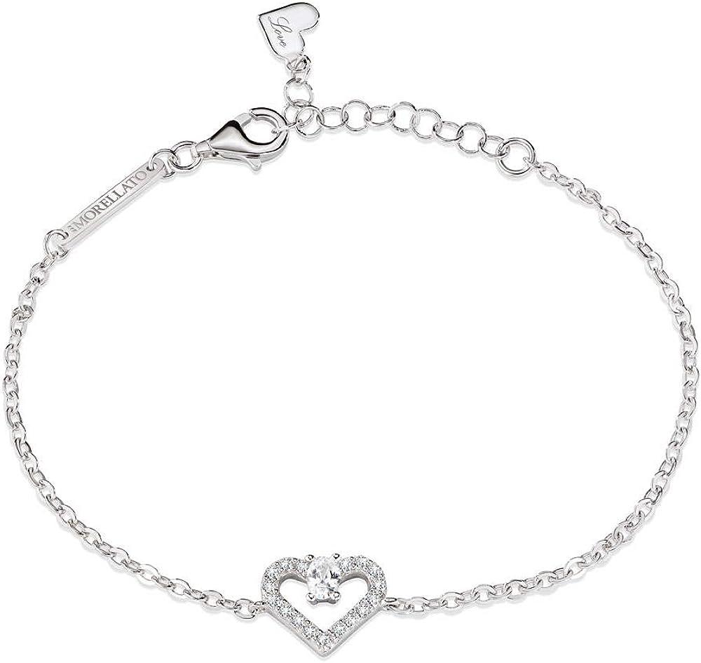 Morellato, bracciale con charm,per donna,in  argento , e zirconi,placcatura rodiata SAIV07