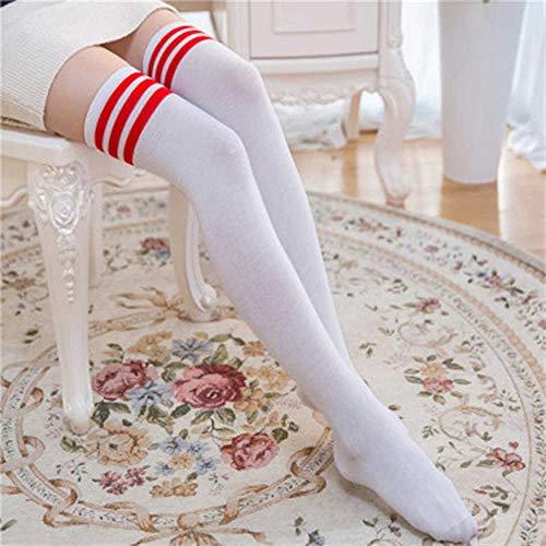 ZHANGNUO Calcetines Sexys Calcetines Largos a Rayas Calcetines Largos para Mujer Calcetines Altos hasta El Muslo para Damas Niñas Calcetines a La Rodilla a Rayas Mujeres Amarillo