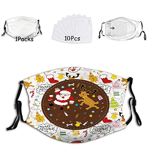 1mask with 10filters Reusable Face Mask Balaclava Washable Nose Mouth Cover for Adult Dancing Santa and Reindeer Happy New Year Cute Childish