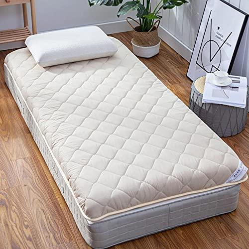 LIMIAO Alfombrilla de Tatami para Dormir, Almohadilla de colchón de Dormitorio de Estudiante de futón Grueso Suave y Transpirable, colchón de Piso de Alto Grado japonés Grueso de 9 cm,Beige,120x190cm