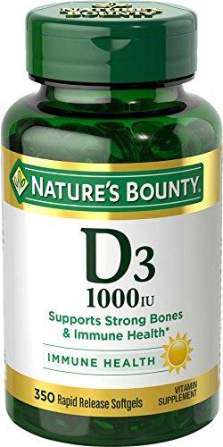 Vitamin D3 by Nature's Bounty for immune support. Vitamin D3 provides immune support and promotes healthy bones. 1000IU, 350 Softgels