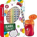 STABILO EASY Dosenspitzer 3 in1 für Rechtshänder (orange + 12 Dreikant-Buntstifte)