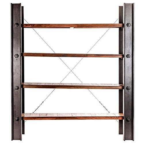 Indhouse - Estantería loft con en viga de metal y madera Dreyer