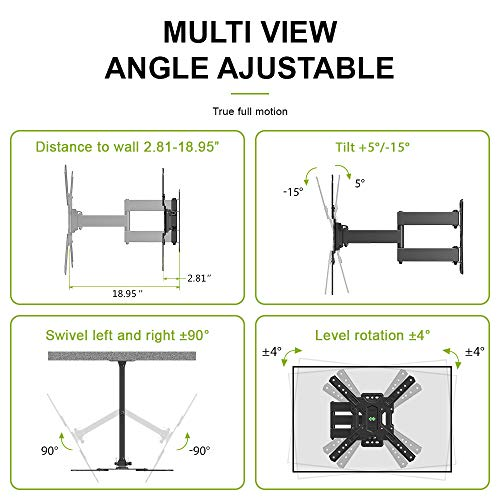 USX MOUNT Full Motion Swivel Articulating Tilt TV Wall Mount Bracket for 26-55