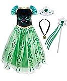 Hamanasu Disfraz de princesa de Anna para niñas, vestido de fiesta de cumpleaños con accesorios (Green01,3Y-100)