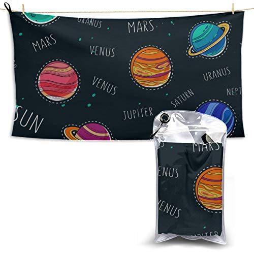 Liaosax Amazing Solar System Space Microfiber Towels Bath Travel Towel for Kids Camp Towels Baby Towel Microfiber 27.5'' X 51''(70 X 130cm) Best for Gym Travel Camp Yoga Fitnes