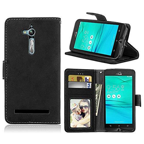 Für Asus Zenfone Go ZB500KL Hülle, Premium PU Leder Schutztasche Klappetui Brieftasche Handyhülle, Standfunktion Flip Wallet Case Cover - Retro Frosted 3 Card Slots (Schwarz)