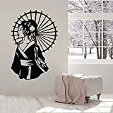 Beauty Geisha Umbrella Etiqueta de la pared Asian Kimono Vinyl Woman Living Room Decoración