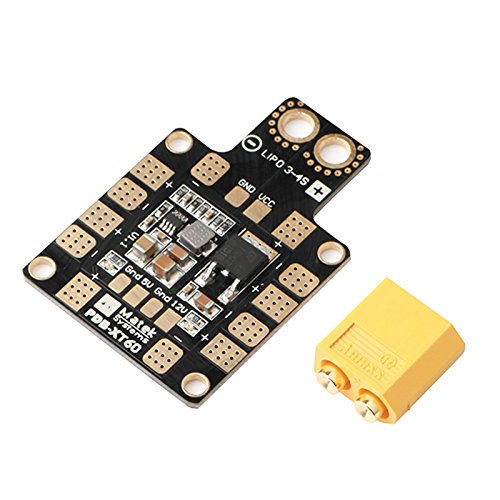 EisEyen XT60 PDB Power Distribution Board For X or H Diseño FPV Racing RC Drone Quadcopter LED Indicadores 5 V y 12 V Salidas y Cortocircuito Tolerancia