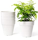 Mkono 5.5 Inch Plastic Planters Terra-Cotta Style Pot, Set of 5 Indoor Flower Plant Pots Modern Decorative Gardening Pot with Drainage for All House Plants, Herbs, and Seed Nursery, Cream White