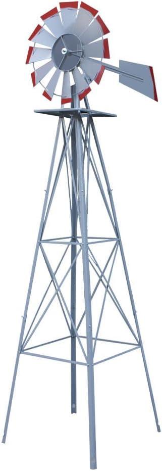 Raleigh Super popular specialty store Mall StarsDeals 8ft. Ornamental Decorative Garden Windmill Silve Yard