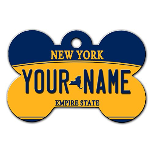 BleuReign(TM Personalized Custom Name New York State License Plate Bone Shaped Metal Pet ID Tag with Contact Information