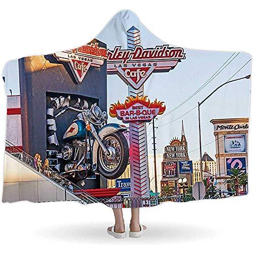BeiBao-shop Ha-rley Davidson-Café im Streifen, mit Kapuze Blankets096266