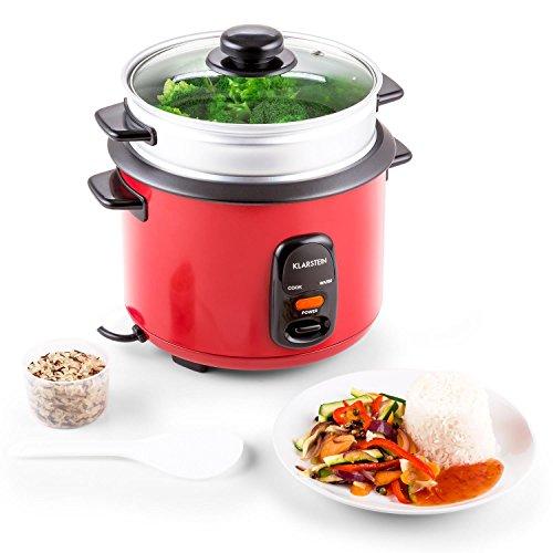 Klarstein Osaka 1.5 Premium - Reiskocher, elektrischer Reiskochtopf, Dampfgarer, 1,5 Liter, 500 W, automatische Warmhaltefunktion, Dampfgaraufsatz, Glasdeckel, Reislöffel, Messbecher, rot