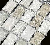Rocailles Perlen Weiss Crystal Klar Set 2mm 3mm 4mm 6mm Glasperlen 20 Pack 400g AM19