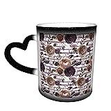 Oaieltj Tazas cambiantes de calor divertidas flores de ciruelo personalizado sensible al calor cambiante mágico taza de café de cerámica taza de té de leche