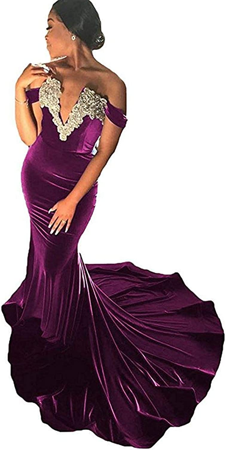 LastBridal Women Velvet Off The Shoulder Lace Appliques Prom Dresses Mermaid Long Evening Gown Z095 Black