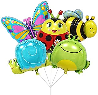 BALONAR 5PCS Foil Balloons Animal Balloons for Child Birthday Party Supplies Cute Baby Shower Decorations Butterfly Frog Snail Bee Lady Bug Balloons