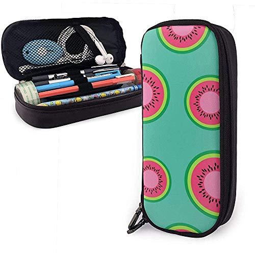 Kreis Wassermelone Schnittmuster PU Leder Federmäppchen, große Kapazität Federbeutel, Studenten Briefpapier, Doppel-Reißverschluss