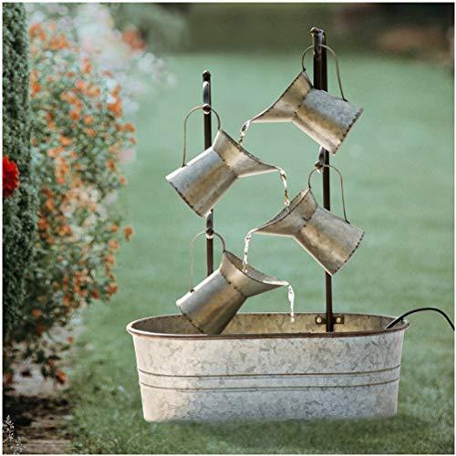 Glitzhome Metal Water Fountain Galvanized Garden Tools Farmhouse Decor (Galvanized 1)