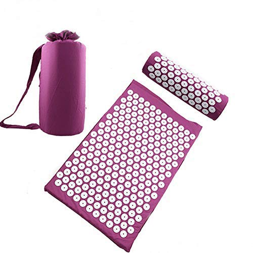 Miwaimao Relieve Pain Yoga mat Pressure Massage to Relieve Stress Tension Natural Body Massage Cushion,Purple Set,China