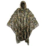 Outdoor Camouflage Ghillie Poncho 3D Leaves Hunting Cape Camouflage Cloak Stealth Ghillie Suit for Hunting Bird Watch Military CS Woodland Hunting