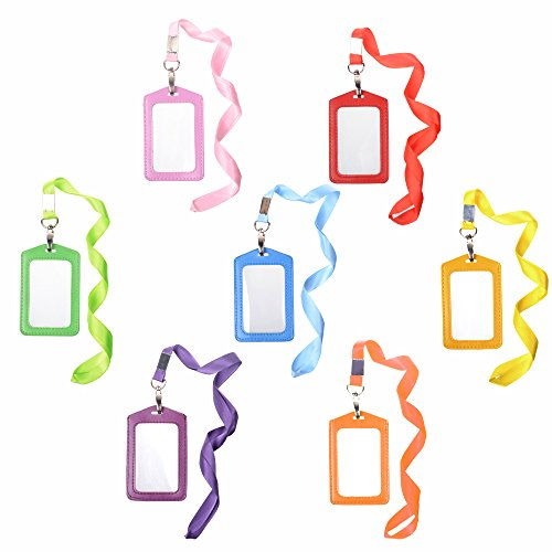 Cosmos 7pcs Vertical Style Assorted Color Faux Leather Business Id Credit Card Badge Holder Clear Pouch Case with Long Neck Strap Band Lanyard (31 Inch Full Round Length)