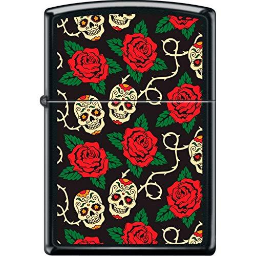 Zippo Sugar Skulls On Vine with Red Roses Black Matte Windproof Lighter