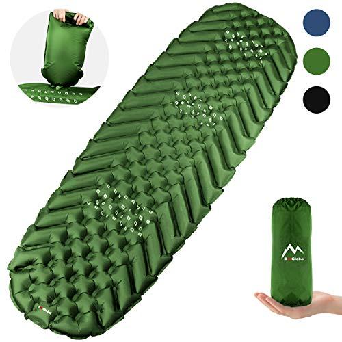 BAGLOBAL Isomatte, Einfaches Aufpumpen mit Einem Aufgeblasenen Beutel, Leicht und rutschfest, Zweiwegeventil, Gute Isomatte zum Camping und Wandern(Grün)