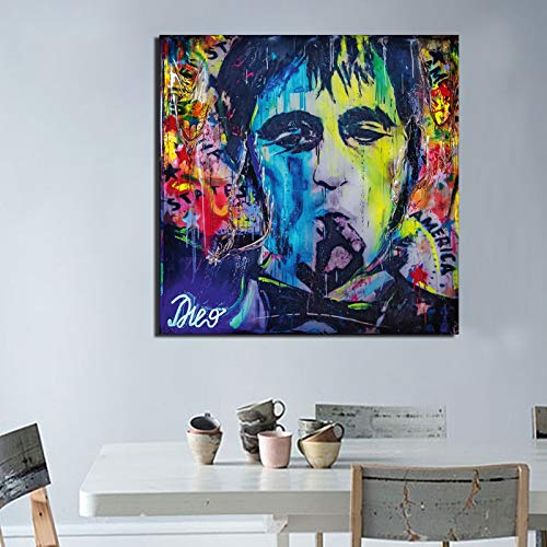 Roken anoniem persoon abstract canvas poster Tony Montana kunst canvas schilderij universum muurschildering print woonkamer slaapkamer decoratie 60x60cm Geen frame
