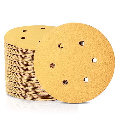 Speedwox Schleifscheiben mit 6 Löchern und 6 Löchern, 15 cm, staubfreies Schleifpapier, passend für zufällige Exzenterschleifer, gelbe Abschlussscheiben für Automobil-Holzbearbeitung, 100 Stück, gelb