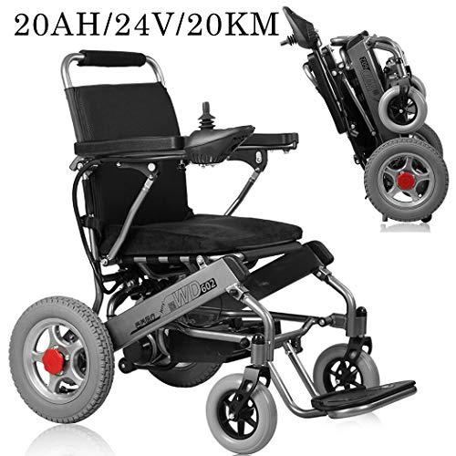 24 V/20 Ah/20 km, elektrische rolstoel, inklapbaar, afstandsbediening, 250 W, 2 elektrische rolstoelen met dubbele motor, voor volwassenen.