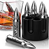 Metal Whiskey Stones - 6-Pack Steel Whiskey Rocks   Metal Ice Cubes to Chill Bourbon, Scotch in Your Whisky Glass - Cool Gifts for Men, Father's Day, Christmas Stocking Stuffer, Man Cave Accessories
