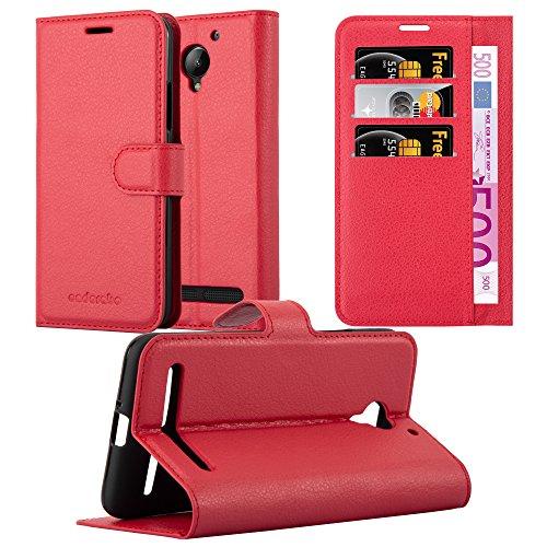 Cadorabo Hülle für Lenovo C2 - Hülle in Karmin ROT – Handyhülle mit Kartenfach & Standfunktion - Hülle Cover Schutzhülle Etui Tasche Book Klapp Style